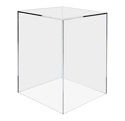 "Marketing Holders Acrylic Jewelry Display Box Cube Toys Trinkets Collectible Items Safety Dust Cover Square 5 Sided Show Case Art Easel Pedestal Display 12""w x 16""h x 12""d Pack of 1"