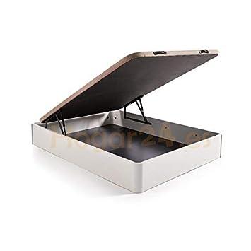 HOGAR24 ES Canapé Abatible Madera Gran Capacidad con Tapa 3D y Válvulas de Transpiración, con Esquineras en Madera Maciza, Color Blanco, ...