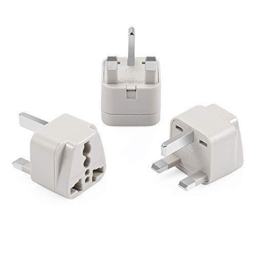 Wonpro Grounded Travel Plug Adapter Type G for Singapore, UK, Ireland, UAE – CE Certified – 3 Pack