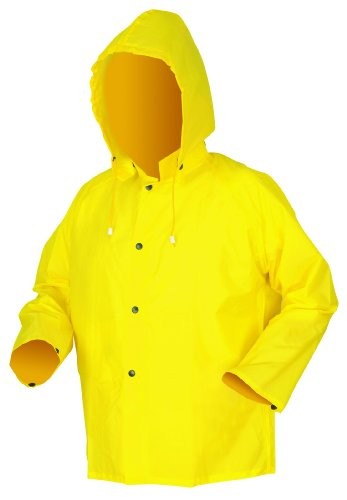 MCR Safety 550JL Navigator Nylon/Polyurethane Flame Retardant Jacket with Detachable Drawstring Hood, Yellow, Large - Mcr Safety Navigator