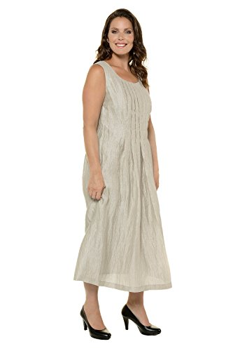 Ulla Popken Women's Plus Size Linen Blend Crinkle Maxi Dress Linen 28 710611 22 (Big Nylon Zipper Crinkle)
