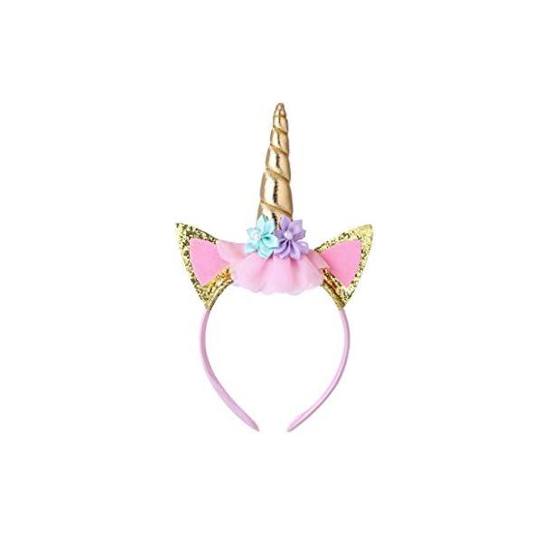 Cooper Fun Unicorn Birthday Set of Gold Glitter Unicorn Headband Pink Satin Sash for Happy Birthday Unicorn Party… 9