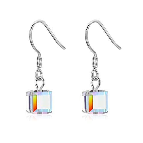 WOSTU Austrian Crystal Earrings,925 Sterling Silver Lady Drop Earrings Party Earrings for Women - Earrings Crystal Silver Austrian Sterling