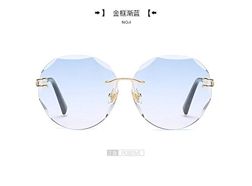 Plana Gafas Hombre Sin Bastidor Films Sol de Transparentes Golden Cerco Gafas JUNHONGZHANG Gafas De Moda Enmarcadas Mar Blanca azul Redondo Sol gradualmente De De oro xpUnFw