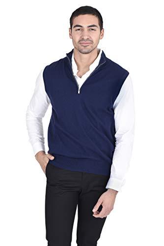 State Fusio Men's 1/4 Zip Wool Cashmere Vest Navy