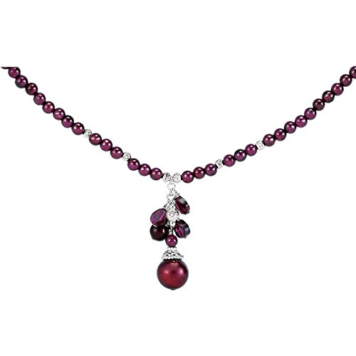 "Sterling Silver Freshwater Cultured Pearl & Rhodolite Garnet 16-18"" Necklace from Stuller"