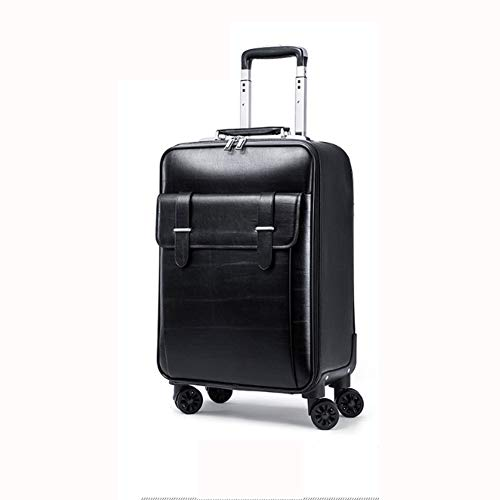 GNNHY Universal Wheel Luggage Waterproof Soft Leather Suitcase Business Cowhide Box Boarding Computer Trolley 20/24 Inch,Black,M