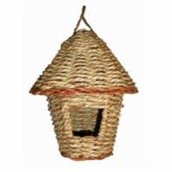 Woven Rope Roosting Pocket with Roof. Hand Made. 100% Fiber.
