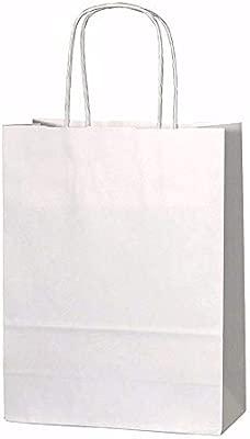 20 bolsas de papel kraft con asas trenzadas e ideales para utilizar en fiestas o para hacer regalos, Blanco, XS