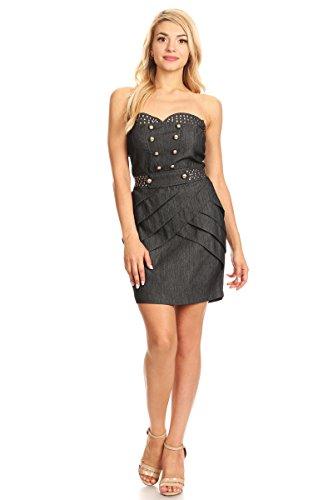 Sanjoy Denim Strapless Sweetheart Mini Dress with Open Back (Medium, Black)