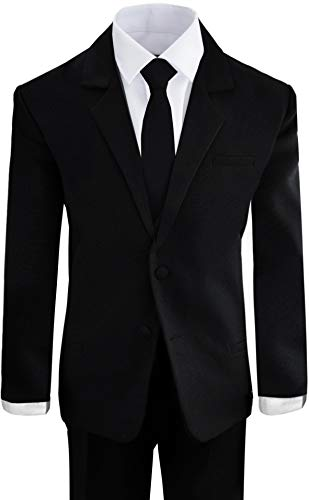 (Black N Bianco Boys' Formal Black Suit with Shirt and Vest (10, Black))