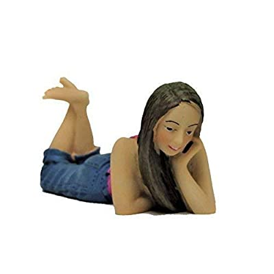 Melody Jane Dollhouse People Young Girl Lying Down Chin on Hand Resin Figure: Toys & Games [5Bkhe0403385]