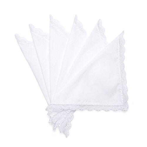 - Selected Hanky Ladies/Women's Solid White Cotton Handkerchief with Lace for Embroidery