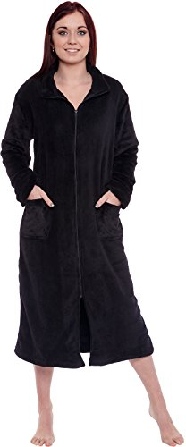 Silver Lilly Women's Full Length Zip Up Robe - Plush Fleece Long Zipper Housecoat (Black, Small/Medium)