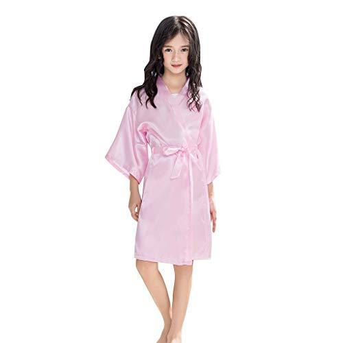 (Grils Kids' Satin Rayon Pure Kimono Robe Bathrobe for Spa Party Wedding Birthday Lingerie Sleepwear Nightgown)