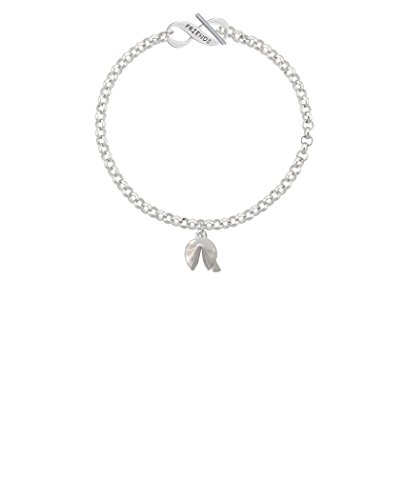 Silvertone 3-D Fortune Cookie Friends Infinity Toggle Chain Bracelet, 8