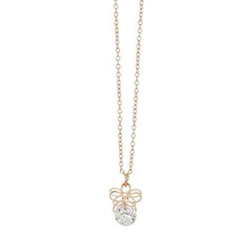 (Purple Box Jewelry Howard's Dazzlers - Gold Flower Drop Necklace w/Cubic Zirconia Stone)