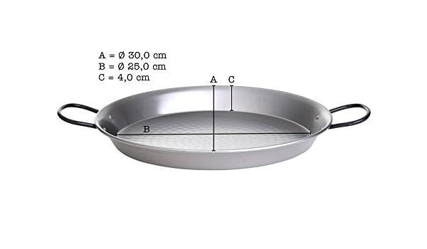Paella de sartén, de acero inoxidable pulido, 30 cm de ...