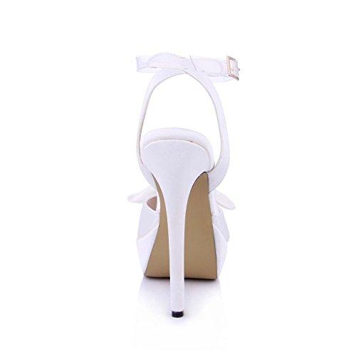 Faux Best Platforms toe High Bow Wedding Rubber Women's Pumps Sandals 3CM One Heels 14CM Silk 4U Peep Shoes Buckle Sole Summer Shoes vqwqr7YzZ