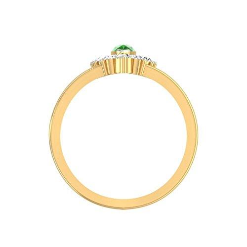 14K Or jaune 0,62carat Diamant Taille ronde (IJ | SI) Émeraude et diamant Bague
