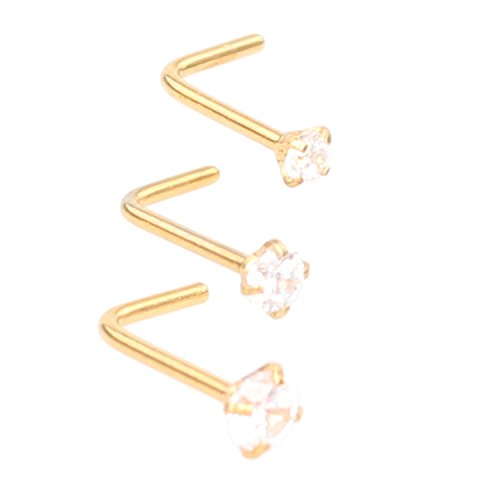 Zifoan 3 Pcs Stainless Steel Nose Rings Studs 20 Gauge L Shaped Curved Nose Piercing Jewelry 2mm 2.5mm 3mm Diamond CZ Nose Stud L Bend for Women Girl Piercing - - Nose Men Shapes
