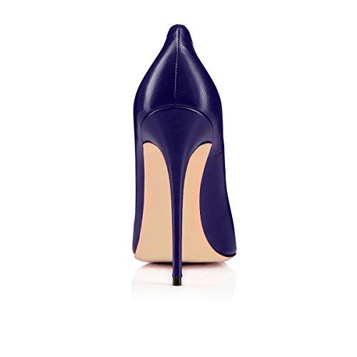 Talon Taille Talons foncé Stilettos Haut Femme Aiguille Ubeauty Escarpins Pu Bleu Grande Chaussures Femmes 120mm w8wqXBH