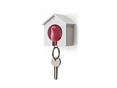 Yuchoi Perfectly Shaped Novelty Bird Sparrow Whistle House Key Ring Wall Hook Holders Key Chain Pair Set (White + Pink)