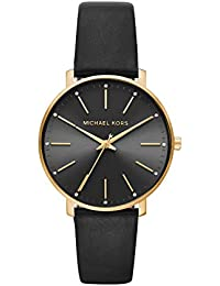Women's Pyper Stainless Steel Quartz Watch with Leather Strap, Gold/Black, 18