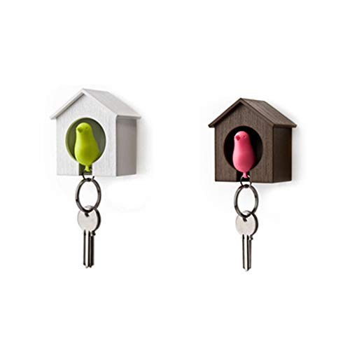 Wall Holder - White Brown Bird Nest Sparrow House Key Chain Ring Whistle Wall...