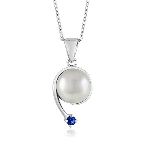 Blue Sapphire Star Pendant - Blue Sapphire Cultured Freshwater Pearl 925 Sterling Silver Shooting Star Pendant