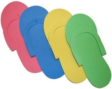 JOVANA 24 Pair Disposable Foam Pedicure Slippers Multi Color Flip Flop Salon Nail Spa ()