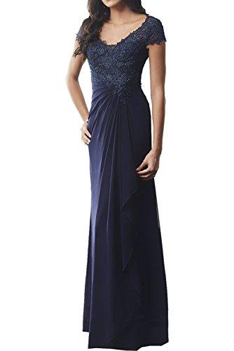 Milano Bride Dunkel Blau Traumhaft Spitze Chiffon Geraft Abendkleider Brautmutterkleider Partykleider Schmaler Schnitt Lang