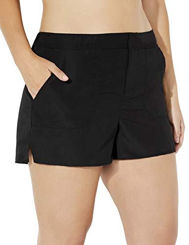 - Swimsuits For All Women's Plus Size Cargo Short Chlorine Resistant Swim Bottom 8 Black
