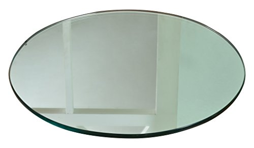 Chintaly Imports Round Mirror Rotating Tray, 24'', Clear by Chintaly Imports