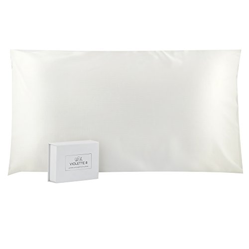Violette8 100% Pure, 25 Momme Mulberry Silk Pillowcase, King Size, White:: Luxurious Double Sided, Envelope Style with Charmeuse Finish:: Natural Benefits for Skin, Hair, and Sleep for Women and -