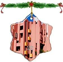 Kysd43Mill - Adornos navideños con Forma de Estrella de Porcelana en Forma de casa roja de España, decoración de árbol de Navidad de Doble Cara: Amazon.es: Hogar