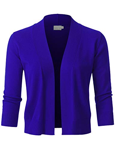 JSCEND Womens Classic 3/4 Sleeve Open Front Cropped Bolero Cardigan RoyalBlue M