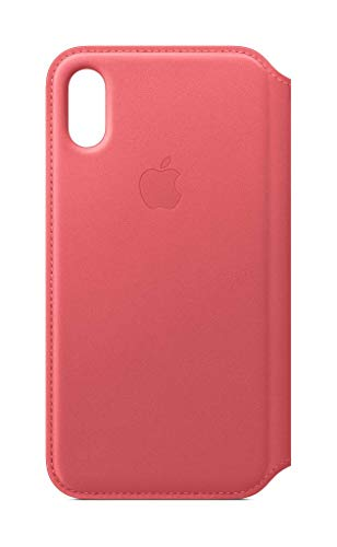 Apple Leather Folio (for iPhone Xs) - Peony Pink
