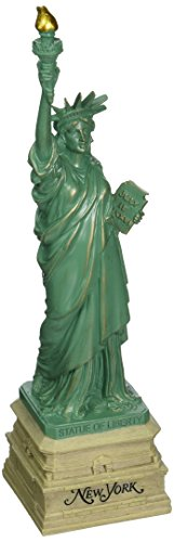 10 Inch Statue of Liberty Statue, Green with Brown New York Base (Green Painted Base)