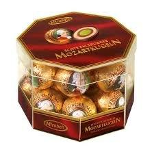 Chocolate Covered Nougat Marzipan - Mirabell Mozart Kugeln Echte Salzburger Transparent Box 300g/18 Pieces