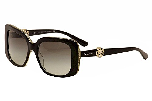 Bvlgari Women's 8146B 8146-B 5325/11 Black/Glitter Gold Fashion Sunglasses - Sunglasses Bv