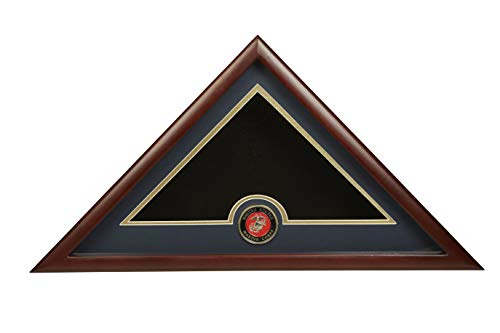 Allied Frame US Marine Corps Internment American Burial Flag Display Case with Official Marine Corps Medallion