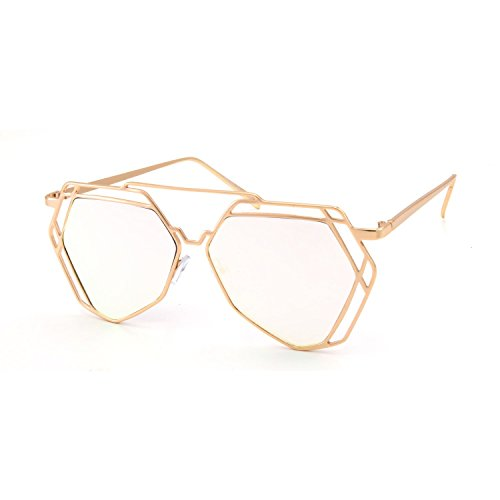 CY SUN Oversized VINTAGE RETRO Style Clear Lens EYE GLASSES Hexagon Gold - Eyeglass Hexagon Frames