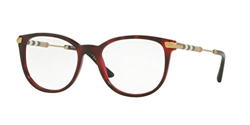 Burberry BE 2255Q 3657 Havana Bordeaux Plastic Square Eyeglasses, 51-18-140