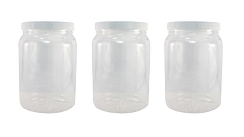 Crystal Clear PET Plastic Jars with Screw on Lids 64 oz Set of 3 Wide Mouth By Pinnacle Mercantile