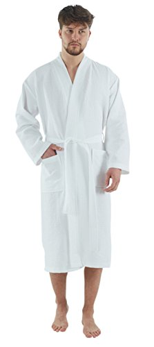 Bagno Milano Mens Waffle-Knit Bathrobe - Lightweight Hotel Spa Robe, Made in Turkey, White M-L