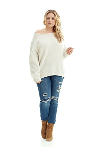 White Cashmere Sweaters (NAKEDCASHMERE Women's Leila Sweater XL Chalk)