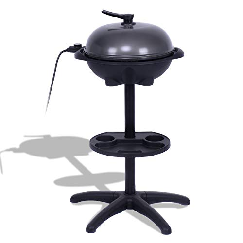 BeUniqueToday 1350 W Outdoor Electric BBQ Grill with Removable Stand Non Stick BBQ Grill 4 Temperature Setting Kitchen Outdoor Garden Camping Portable Kitchen Barbecue Grill
