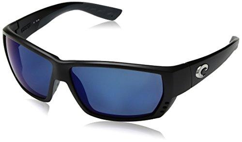 Costa del Mar Tuna Alley Polarized Iridium Wrap Sunglasses, Matte Black, 61.9 ()
