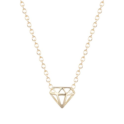 dayone Hollow Diamond-Shaped Three-Dimensional Triangle necklaces & pendants For Women Gold Necklace ()